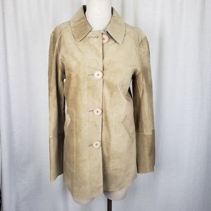 Teenflo Suede Leather Button Up Shirt Jacket 10